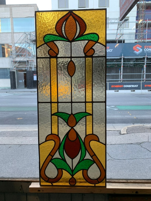 salvaged, recycled, demolition, reproduction, restoration, home renovation secondhand, used , original, old, reclaimed, heritage, antique, victorian, art nouveau edwardian, georgian, art decoLeadlight panel with amber , green and red glass , 1032 mm x 405 mm , $285