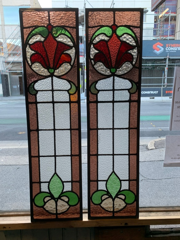 salvaged, recycled, demolition, reproduction, restoration, home renovation secondhand, used , original, old, reclaimed, heritage, antique, victorian, art nouveau edwardian, georgian, art decoGreat pair of Victorian leadlight panels , with nice floral design , 965 mm x 250 mm , 2 matching available , $ 385 each