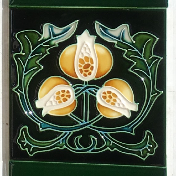 Art Nouveau pomegranate design reproduction tiles, yellow on deep green ground, two tiles available $66 pair SET 199