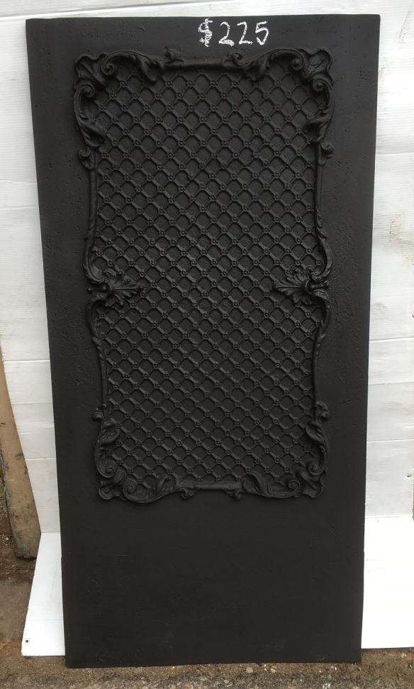 Moulded cast iron panel, fireplace backing plate 945 x 460mm $220 salvaged, recycled, vintage demolition, reproduction, restoration, home renovation secondhand, used , original, old, reclaimed, heritage, antique, victorian, art nouveau edwardian, georgian, art deco