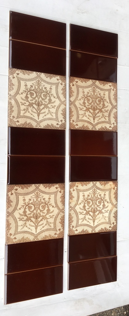 Late Victorian Aesthetic feature tiles, c1890 brown on white clay base, two panel fireplace set, $210 SET 189salvaged, vintage recycled, demolition, reproduction, restoration, home renovation secondhand, used , original, old, reclaimed, heritage, antique, victorian, art nouveau edwardian, georgian, art deco