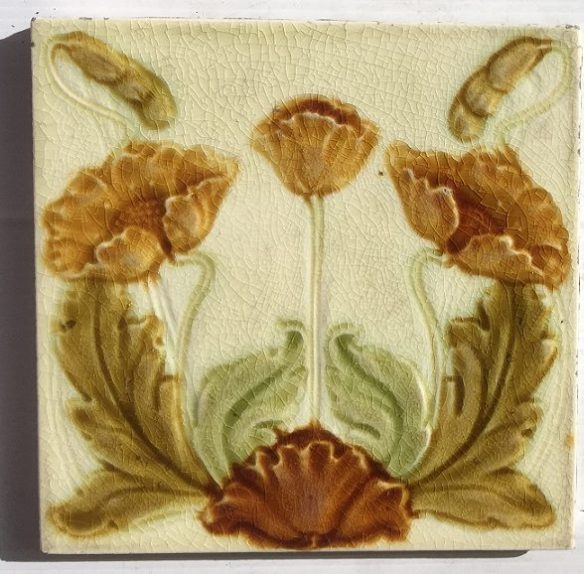 Late 1800s Malkin Edge and Co, English majolica feature tiles, poppies in amber, brown and greens on white clay ground. Two panel fireplace set $230 SET 203 Late 1800s Malkin Edge and Co, English majolica feature tiles, poppies in amber, brown and greens on white clay ground. Two panel fireplace set $230 SET 203 salvaged, recycled, demolition, reproduction, restoration, home renovation secondhand, used , original, old, reclaimed, heritage, antique, victorian, art nouveau edwardian, georgian, art deco