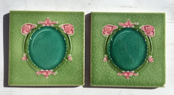 Circa 1900, T and R Boote, England, feature tiles, majolica glaze in greens and pink, frame design. 2 available, $45 each WS salvaged, recycled, demolition, reproduction, restoration, home renovation secondhand, used , original, old, reclaimed, heritage, antique, victorian, art nouveau edwardian, georgian, art deco