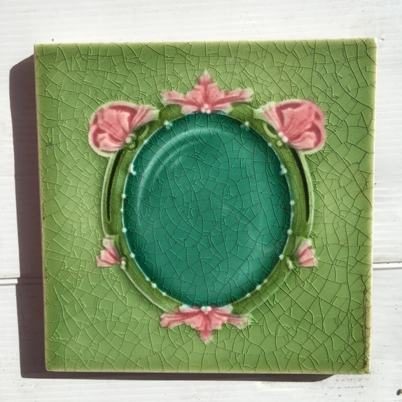 Circa 1900, T and R Boote, England, feature tiles, majolica glaze in greens and pink, frame design. 2 available, $45 each WSsalvaged, recycled, demolition, reproduction, restoration, home renovation secondhand, used , original, old, reclaimed, heritage, antique, victorian, art nouveau edwardian, georgian, art deco