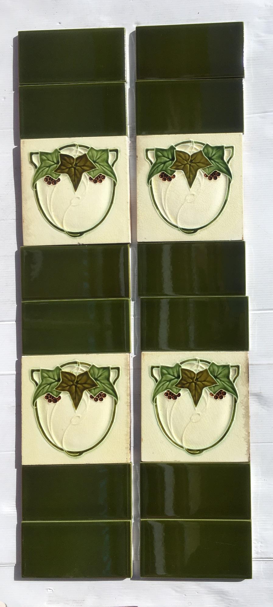 Art Nouveau original period Majolica 6x3 tile relief yellow lemon green Maw /&Co