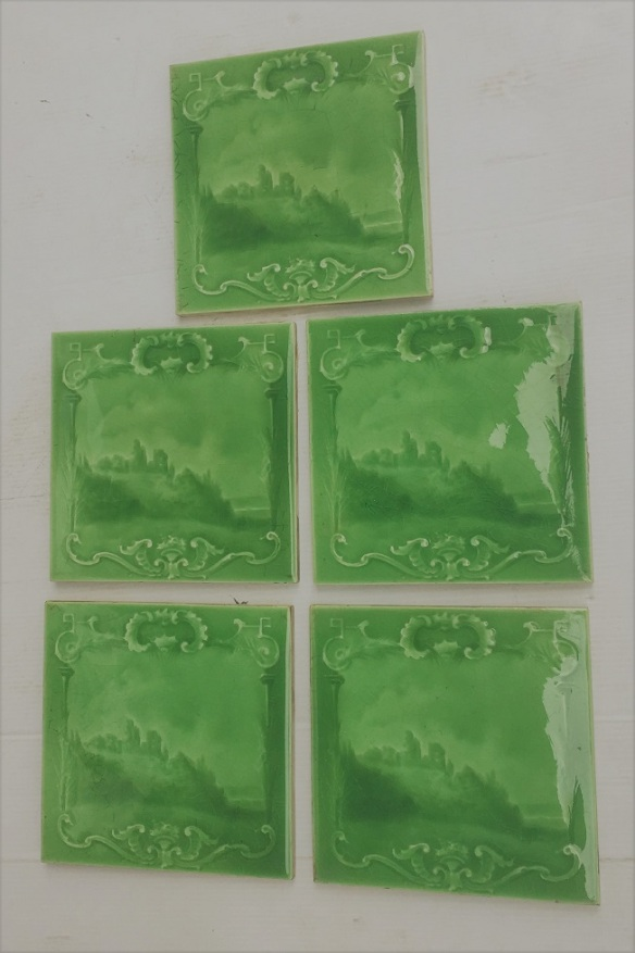 Sherwin and Cotton, England c1900, apple green glaze on moulded tile, castle ruins by a rocky shore, 5 tiles available, $38 each WS salvaged, recycled, demolition, reproduction, restoration, renovation,collectable, secondhand, used , original, old, reclaimed, heritage, antique, victorian, art nouveau edwardian, georgian, art deco