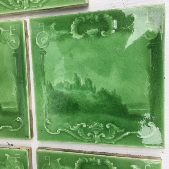 Detail of Sherwin and Cotton, England c1900, apple green glaze on moulded tile, castle ruins by a rocky shore, 8 tiles available, $38 each SET 264 recycled, demolition, reproduction, restoration, renovation,collectable, secondhand, used , original, old, reclaimed, heritage, antique, victorian, art nouveau edwardian, georgian, art deco