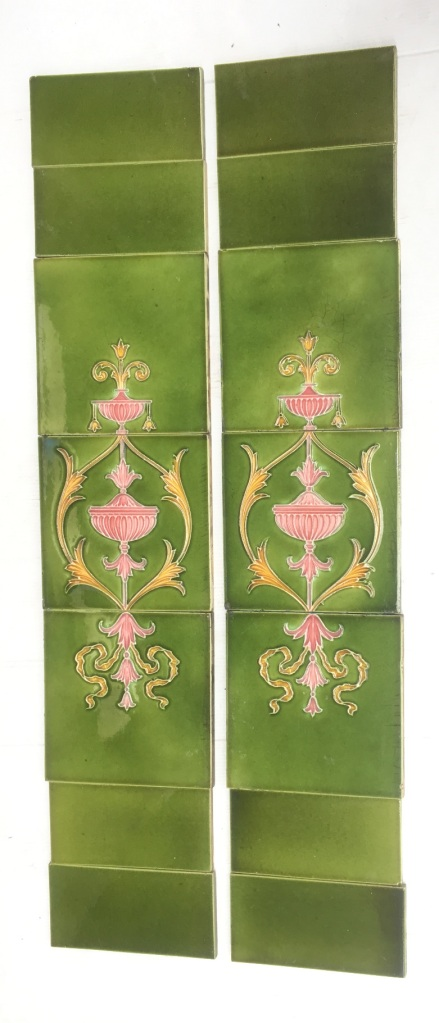 Original late Victorian period fireplace tiles, circa 1895, continuous pattern over three tiles, classical design, urns, foliage and scrolls. pink and yellow detail on mid green glaze. Two panel fireplace set $390 OTB 69 salvaged, vintage recycled, demolition, reproduction, restoration, home renovation secondhand, used , original, old, reclaimed, heritage, antique, victorian, art nouveau edwardian, georgian, art deco