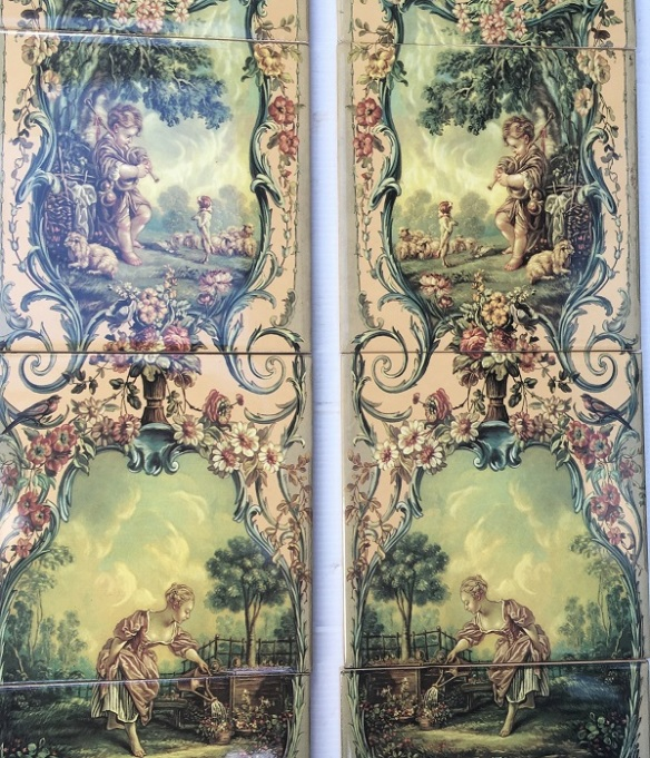 'Versailles' reproduction continuous fireplace tile set, each tile 150 x 150mm, two panel set $330 OTB 53salvaged, recycled, demolition, reproduction, restoration, home renovation secondhand, used , original, old, reclaimed, heritage, antique, victorian, art nouveau edwardian, georgian, art deco