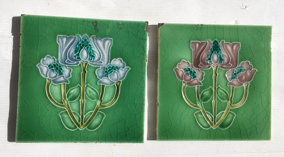 Corn Brothers, England feature tiles c1900, three flower design one in blue $18, one in dusky pink $25 on green background. WS vintage salvaged, recycled, demolition, reproduction, restoration, renovation,collectable, secondhand, used , original, old, reclaimed, heritage, antique, victorian, art nouveau edwardian, georgian, art deco