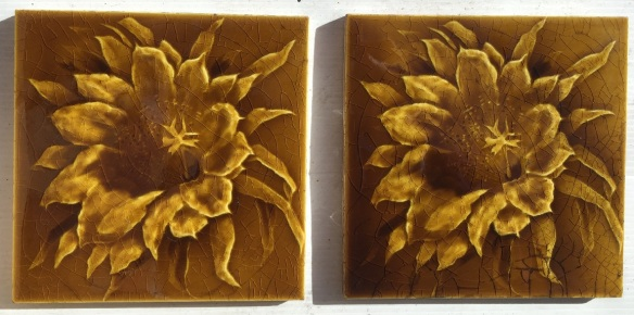 Sherwin and Cotton, England c 1900 moulded feature tile pair, large flower in amber glaze. $70 pair SET 225 salvaged, vintage recycled, demolition, reproduction, restoration, home renovation secondhand, used , original, old, reclaimed, heritage, antique, victorian, art nouveau edwardian, georgian, art decoDetail of Deco style lettering to pub door