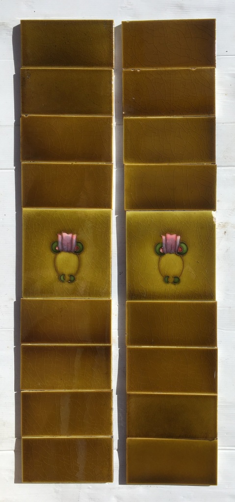 Original H. Richards Tile Co. England, circa 1905. Simple Art Nouveau, tubeline design, hand applied, pink to purple flower, two panel set $190 SET 195 salvaged, recycled, demolition, reproduction, restoration, home renovation secondhand, used , original, old, reclaimed, heritage, antique, victorian, art nouveau edwardian, georgian, art deco