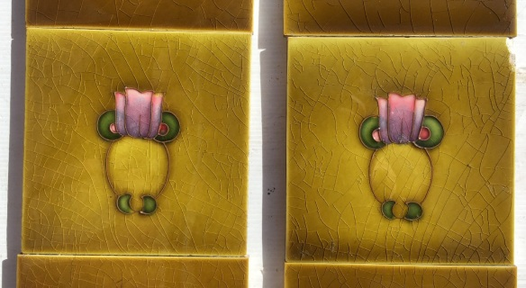 Original H. Richards Tile Co. England, circa 1905. Simple Art Nouveau, tubeline design, hand applied, pink to purple flower, two panel set $190 SET 195salvaged, recycled, demolition, reproduction, restoration, home renovation secondhand, used , original, old, reclaimed, heritage, antique, victorian, art nouveau edwardian, georgian, art deco