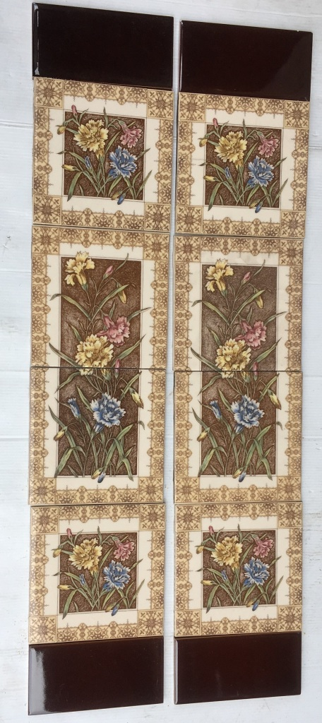 Reproduction Johnson, England, fireplace tile panels, Aesthetic style brown tines with carnations in pink, yellow, blue. 2 panels $260 OTB 56, recycled, demolition, reproduction, restoration, home renovation secondhand, used , original, old, reclaimed, heritage, antique, victorian, art nouveau edwardian, georgian, art deco