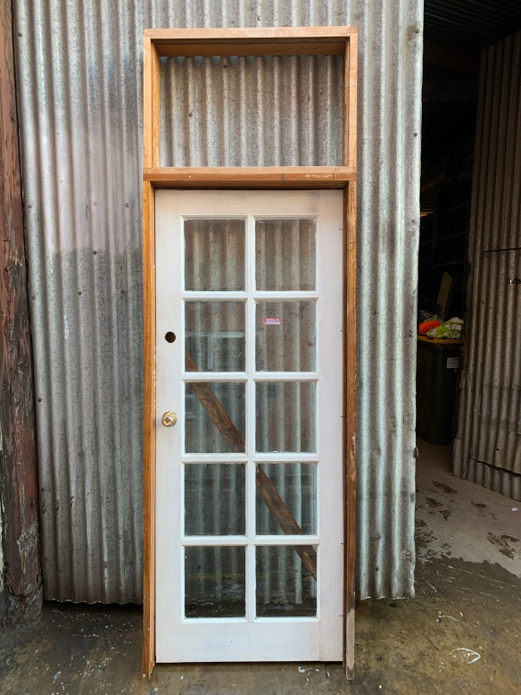 Frame with fanlight and colonial door , frame is 2693 mm x 885 mm , door is 2040 mm x 820 mm , $ 330