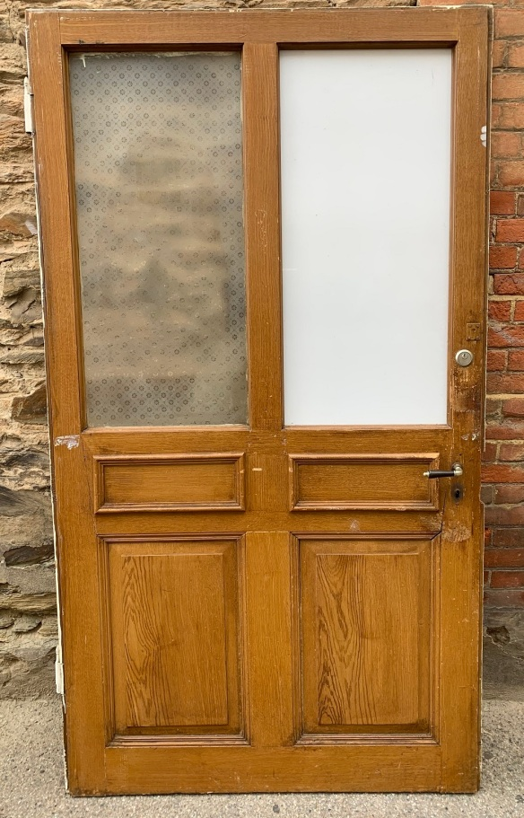 salvaged, recycled, demolition, reproduction, restoration, home renovation secondhand, used , original, old, reclaimed, heritage, antique, victorian, art nouveau edwardian, georgian, art decoVery large pair of doors , originally from Switzerland , one white pane and one etched pane to each door, 2112 mm x 1178 mm , $ 545 each door , painted one side , graining to other side