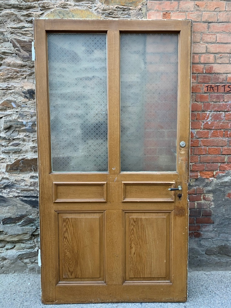 salvaged, recycled, demolition, reproduction, restoration, home renovation secondhand, used , original, old, reclaimed, heritage, antique, victorian, art nouveau edwardian, georgian, art decoVery large early doors from Switzerland, 2 matching doors with full etched glass, 2195 mm tall x 1178 mm wide , $ 645 each door
