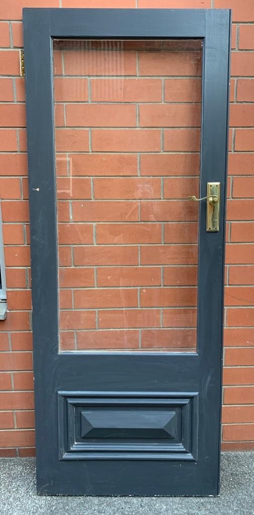 External detail of door in french door set with frame