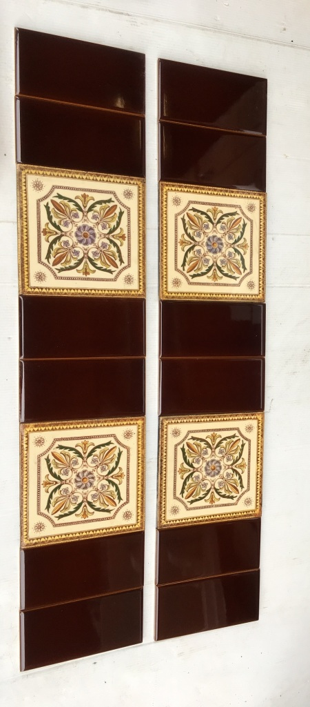 Late Victorian feature tiles, warm brown print with four colour hand tinting. This design has been reproduced but this is the original. Two panel fireplace set, $260 OTB 57 salvaged, recycled, demolition, reproduction, restoration, home renovation secondhand, used , original, old, reclaimed, heritage, antique, victorian, art nouveau edwardian, georgian, art deco