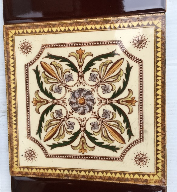 Late Victorian feature tiles, warm brown print with four colour hand tinting. This design has been reproduced but this is the original. Two panel fireplace set, $260 OTB 57salvaged, recycled, demolition, reproduction, restoration, home renovation secondhand, used , original, old, reclaimed, heritage, antique, victorian, art nouveau edwardian, georgian, art deco
