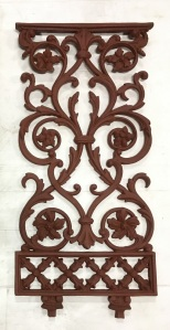 Original Late Victorian cast iron balustrade panels h815 x w390mm x 40 panels available, gritblasted, $175 each salvaged, vintage recycled, demolition, reproduction, restoration, home renovation secondhand, used , original, old, reclaimed, heritage, antique, victorian, art nouveau edwardian, georgian, art deco