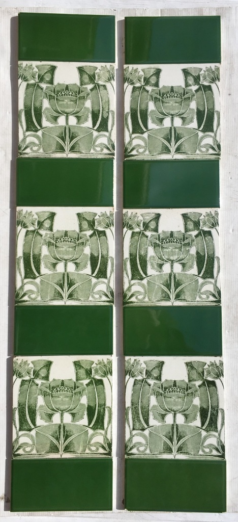 Art Nouveau transfer print tile c1900, green on white clay, $320 OTB 78 salvaged, vintage recycled, demolition, reproduction, restoration, home renovation secondhand, used , original, old, reclaimed, heritage, antique, victorian, art nouveau edwardian, georgian, art deco