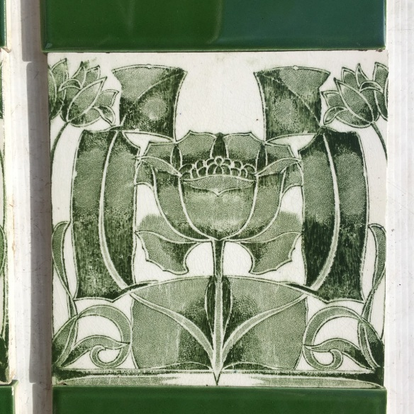 Detail of Art Nouveau transfer print tile c1900, green on white clay, $320 OTB 78 salvaged, vintage recycled, demolition, reproduction, restoration, home renovation secondhand, used , original, old, reclaimed, heritage, antique, victorian, art nouveau edwardian, georgian, art deco