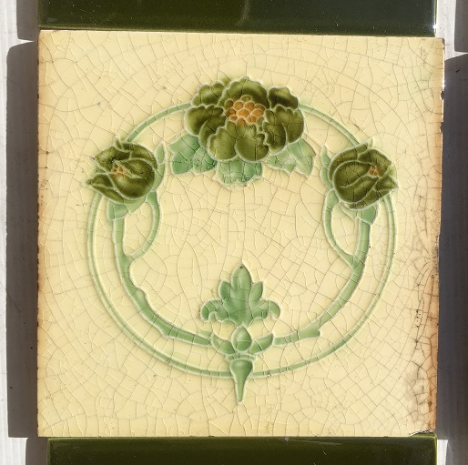 Circa 1900, T and R Boote feature tiles, circular Art Nouveau design, trio of flowers in greens on pale lemon ground, two panel set $250 SET 194 salvaged, recycled, demolition, reproduction, restoration, home renovation secondhand, used , original, old, reclaimed, heritage, antique, victorian, art nouveau edwardian, georgian, art deco