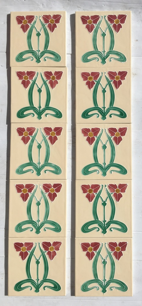 Reproduction fireplace tiles Water Plantain flower cream background with pink Art Nouveau style flowers, 10 tile set $330 OTB 68 salvaged, vintage recycled, demolition, reproduction, restoration, home renovation secondhand, used , original, old, reclaimed, heritage, antique, victorian, art nouveau edwardian, georgian, art deco
