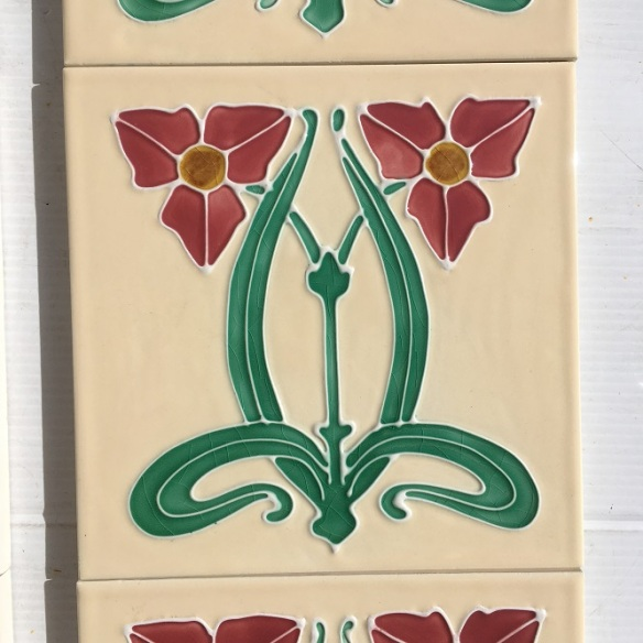 Reproduction fireplace tiles Water Plantain flower cream background with pink Art Nouveau style flowers, 10 tile set $330 OTB 68salvaged, vintage recycled, demolition, reproduction, restoration, home renovation secondhand, used , original, old, reclaimed, heritage, antique, victorian, art nouveau edwardian, georgian, art deco