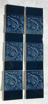 Late 1800s feature tiles, American Encaustic Tile Co. spiral and scrolls design, stylised foliage with finely detailed spirals in background, deep blue glaze, $460 for two panel set, can separate to have 2 or 4 tiles in the fireplace panels. $460 OTB 67 salvaged, vintage recycled, demolition, reproduction, restoration, home renovation secondhand, used , original, old, reclaimed, heritage, antique, victorian, art nouveau edwardian, georgian, art deco