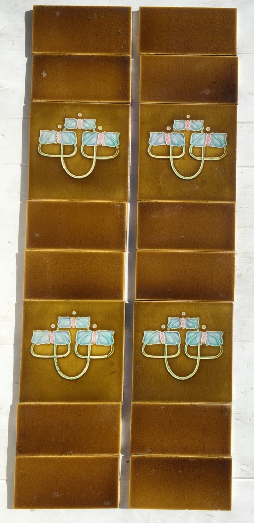 Original Henry Richards feature tile set, c 1912, embossed majolica, 152 x 152mm, two panel set (four feature tiles) $220 SET 197 ecycled, demolition, reproduction, restoration, home renovation secondhand, used , original, old, reclaimed, heritage, antique, victorian, art nouveau edwardian, georgian, art deco