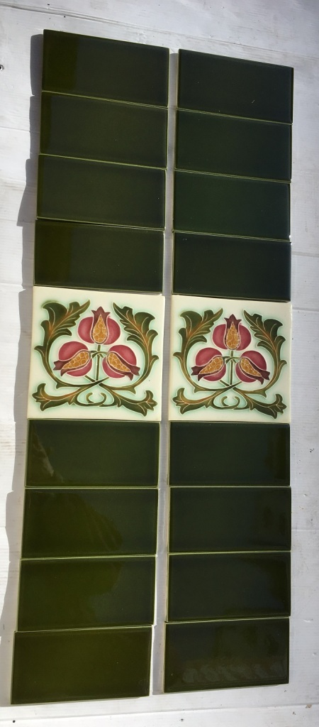 Design of three pomegranates with green foliage on reproduction fireplace feature tiles 150 x 150mm, two panel fireplace set, $145 OTB 65 salvaged, recycled, demolition, reproduction, restoration, home renovation secondhand, used , original, old, reclaimed, heritage, antique, victorian, art nouveau edwardian, georgian, art deco