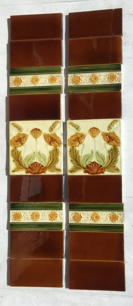 Late 1800s Malkin Edge and Co, English majolica feature tiles, poppies in amber, brown and greens on white clay ground. Two panel fireplace set $190 SET 203 salvaged, vintage recycled, demolition, reproduction, restoration, home renovation secondhand, used , original, old, reclaimed, heritage, antique, victorian, art nouveau edwardian, georgian, art deco