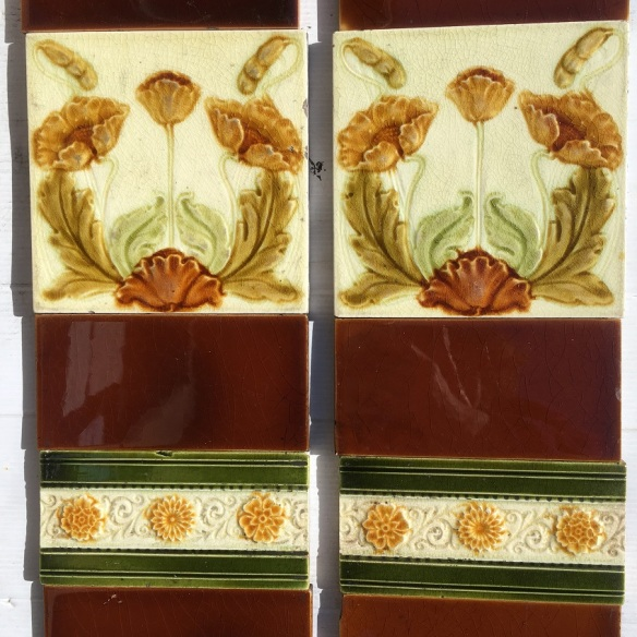 Late 1800s Malkin Edge and Co, English majolica feature tiles, poppies in amber, brown and greens on white clay ground. Two panel fireplace set $190 SET 203 Late 1800s Malkin Edge and Co, English majolica feature tiles, poppies in amber, brown and greens on white clay ground. Two panel fireplace set $230 SET 203 SET 203salvaged, vintage recycled, demolition, reproduction, restoration, home renovation secondhand, used , original, old, reclaimed, heritage, antique, victorian, art nouveau edwardian, georgian, art deco