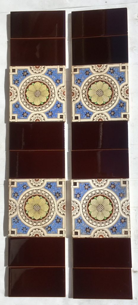 Detail of original Victorian Aesthetic period feature tiles, c1890 156 x 156 x 11mm, deep brown flower print on white clay base, vivid cornflower blue, pale green and yellow hand tinting. Two panel fireplace set, $280 OTB 97 SET 200 salvaged, vintage recycled, demolition, reproduction, restoration, home renovation secondhand, used , original, old, reclaimed, heritage, antique, victorian, art nouveau edwardian, georgian, art deco