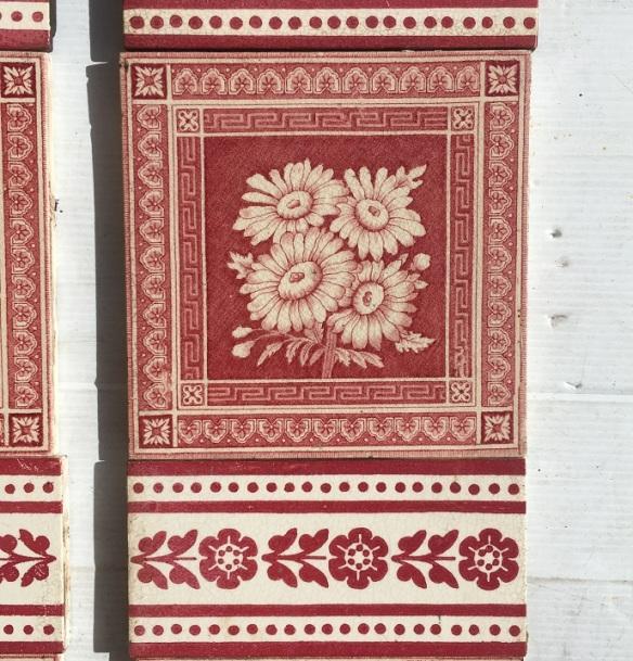 detail of c1895 Corn Bros, England, fireplace tile 2 panel set, $325 SET 191salvaged, recycled, demolition, reproduction, restoration, home renovation secondhand, used , original, old, reclaimed, heritage, antique, victorian, art nouveau edwardian, georgian, art deco