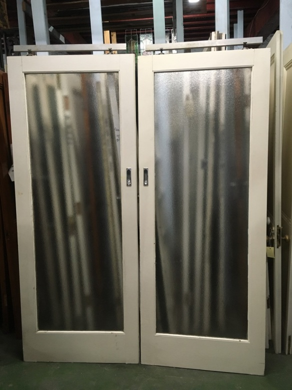 Timber framed sliding glass door pair, full pane of ripple glass with tracks, approx width 1630 x height 2060mm, $440 pairsalvaged, recycled, demolition, reproduction, restoration, home renovation secondhand, used , original, old, reclaimed, heritage, antique, victorian, art nouveau edwardian, georgian, art deco