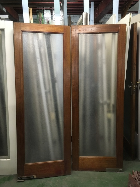 Timber framed swing glass door pair, full pane of ripple glass with, approx width 1460 x height 20602035mm, $220 pair salvaged, recycled, demolition, reproduction, restoration, home renovation secondhand, used , original, old, reclaimed, heritage, antique, victorian, art nouveau edwardian, georgian, art deco