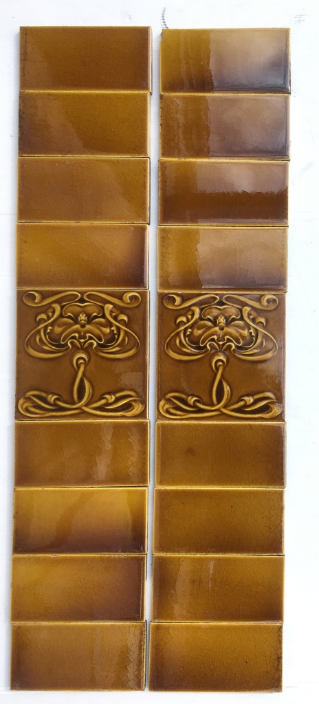 Original Art Nouveau pair of fireplace tile panels c 1910, elaborate moulded design in warm yellow/brown, $235 for the pair OTB 19 salvaged, vintage recycled, demolition, reproduction, restoration, home renovation secondhand, used , original, old, reclaimed, heritage, antique, victorian, art nouveau edwardian, georgian, art deco
