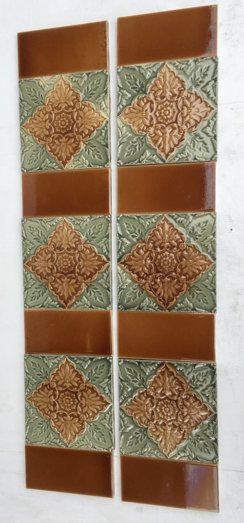 Late Victorian / Aesthetic foliage design, moulded majolica tiles, pinky brown with grey green glazes. two panel set $250 (OTB 123) salvaged, vintage recycled, demolition, reproduction, restoration, home renovation secondhand, used , original, old, reclaimed, heritage, antique, victorian, art nouveau edwardian, georgian, art decoDetail of Deco style lettering to pub door
