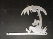 "Sleeping Mexican under palm tree ""Sleepy Sanchez"" house wall decoration, recast aluminium 310 x 235 x 5mm, $45 incl gst"