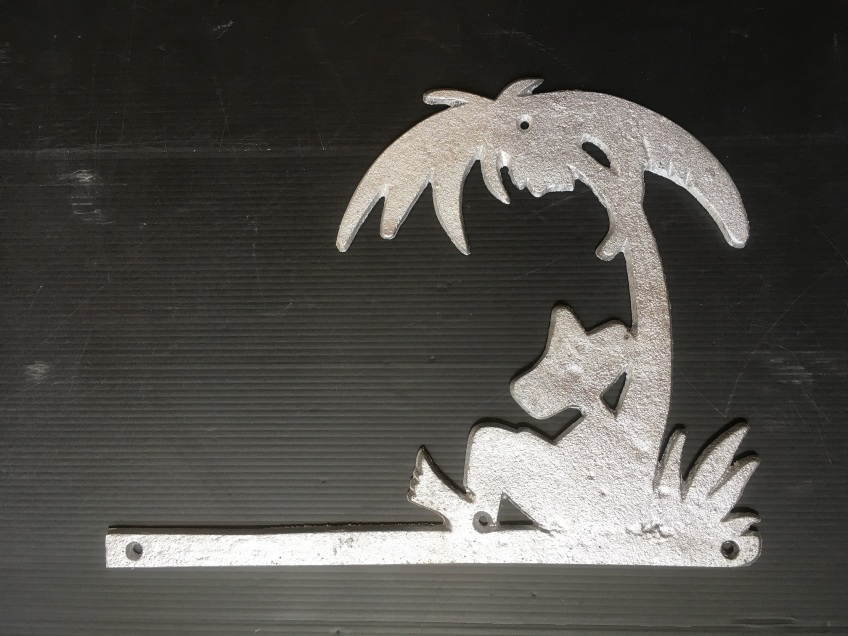 "Sleeping Mexican under palm tree ""Sleepy Sanchez"" house wall decoration, recast aluminium 310 x 235 x 5mm, $45 incl gst"