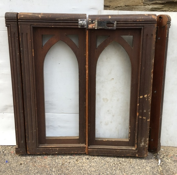 Gothic arch timber personal access gate pair. width approx 730 x height 775 x depth 70mm. salvaged, recycled, demolition, reproduction, restoration, renovation,collectable, secondhand, used , original, old, reclaimed, heritage, antique, victorian, art nouveau edwardian, georgian, art deco