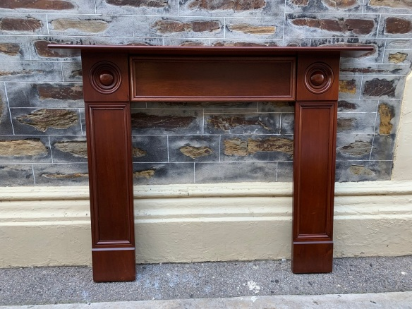 salvaged, vintage recycled, demolition, reproduction, restoration, home renovation secondhand, used , original, old, reclaimed, heritage, antique, victorian, art nouveau edwardian, georgian, art decoGeorgian Cedar mantle with good polished finish , top shelf is 1505 mm x 160 mm , height is 1180 mm , opening 850 mm wide x 935 mm high , $ 545