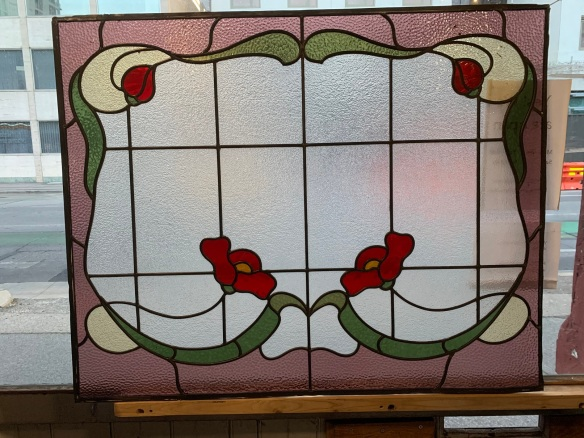 salvaged, vintage recycled, demolition, reproduction, restoration, home renovation secondhand, used , original, old, reclaimed, heritage, antique, victorian, art nouveau edwardian, georgian, art decoLarge Lead light panel with floral design , 875 mm x 1085 mm , $ 485