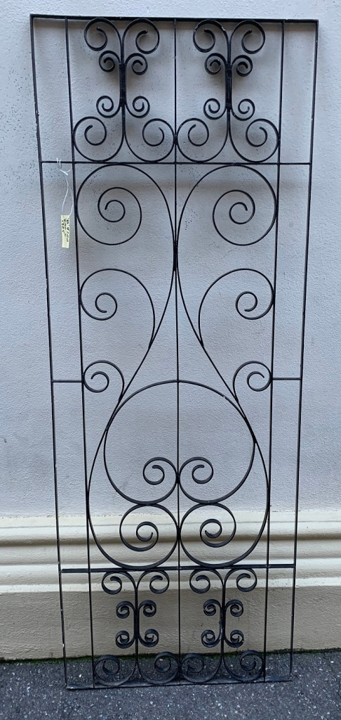 "salvaged, vintage recycled, demolition, reproduction, restoration, home renovation secondhand, used , original, old, reclaimed, heritage, antique, victorian, art nouveau edwardian, georgian, art decoWrought iron screen , 1725 mm x 640 mm , $ 120 "" screen b """