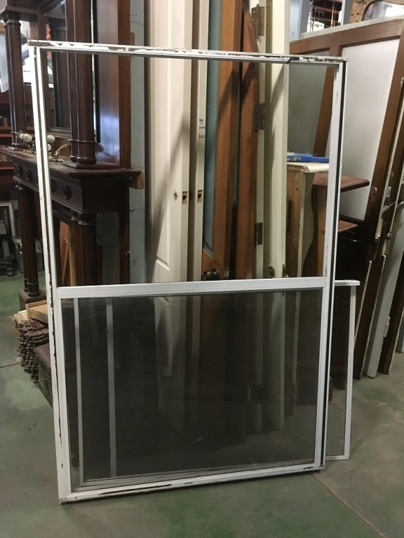 Aluminium frame sliding window, 1200 x 1830mm, two glass panes and one fly screen, $50 salvaged, recycled, demolition, reproduction, restoration, home renovation secondhand, used , original, old, reclaimed, heritage, antique, victorian, art nouveau edwardian, georgian, art deco