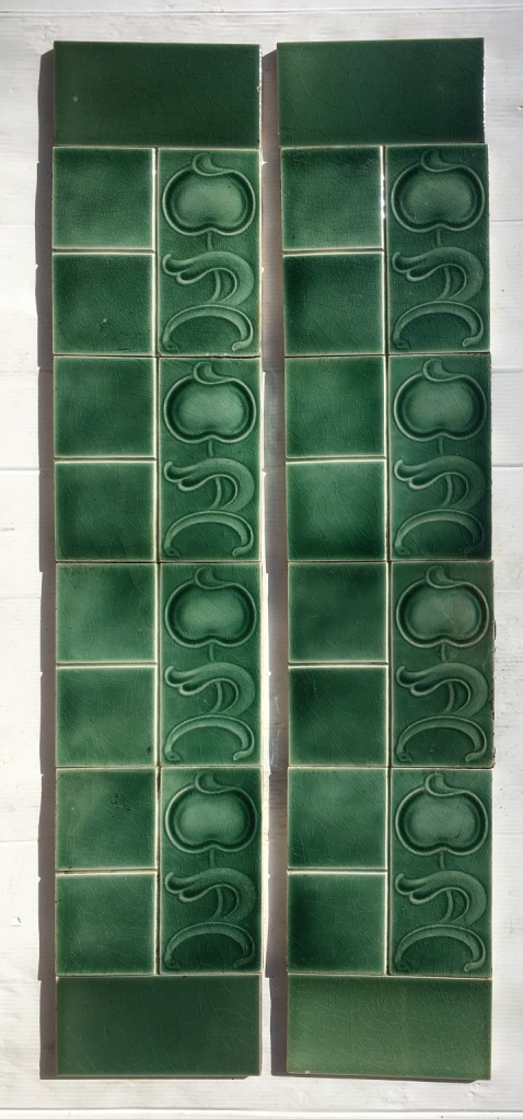 Sherwin and Cotton, England tiles, c1905. moulded Art Nouveau design, monochrome green glaze, Two panel fireplace set $250 SET 202 salvaged, vintage recycled, demolition, reproduction, restoration, home renovation secondhand, used , original, old, reclaimed, heritage, antique, victorian, art nouveau edwardian, georgian, art deco