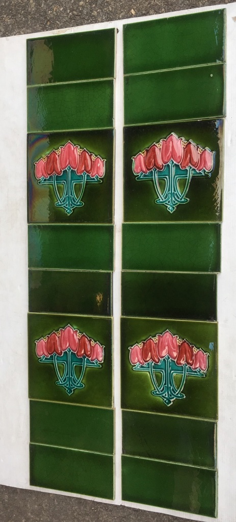 salvaged, vintage recycled, demolition, reproduction, restoration, home renovation secondhand, used , original, old, reclaimed, heritage, antique, victorian, art nouveau edwardian, georgian, art deco Pilkington Tile and Pottery Co c1930, five stylised pink tulips, glaze ground, two panel fireplace set, $265 (SET 201)
